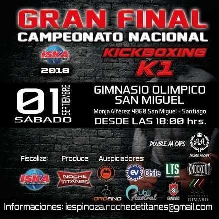 Final campeonato nacional Iska 2018 kickboxing k1