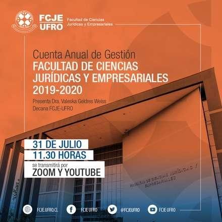 Cuenta Anual de Gestión FCJE-UFRO 2019-2020