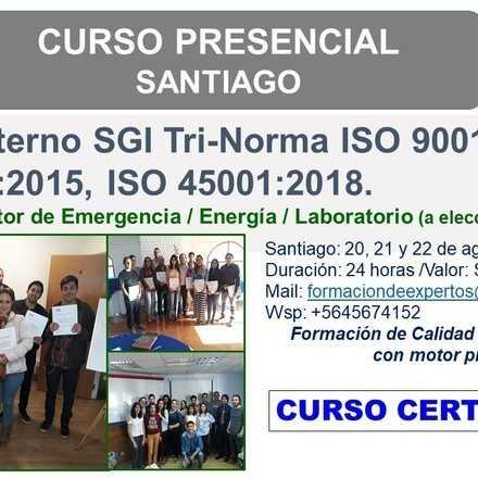 CURSO AUDITOR INTERNO SGI ISO 9001, ISO 14001, ISO 45001 - SANTIAGO
