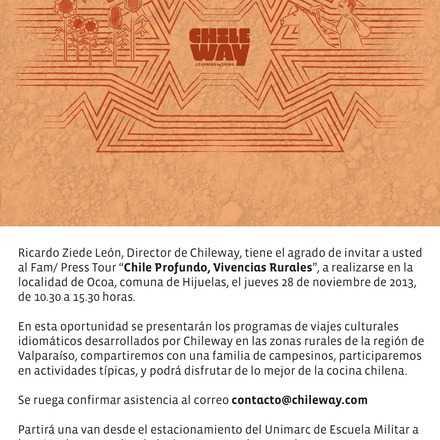 "FAM/ PRESS tour ""Chile Profundo, Vivencias Rurales"" 28/11"
