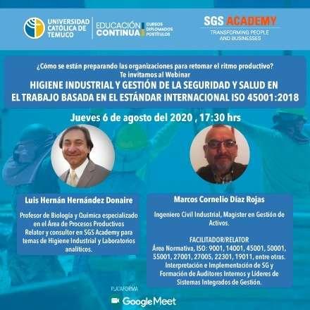 """Webinar """"Higiene Industrial y Gestión de la Seguridad y Salud en el Trabajo basada en el Estándar Internacional ISO 45001:2018"""""""