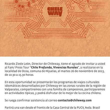 "FAM/ PRESS tour ""Chile Profundo, Vivencias Rurales"""