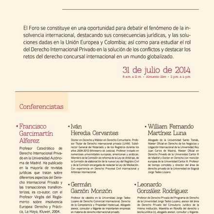 Foro Internacional Aspectos Jurídicos de la Insolvencia Internacional