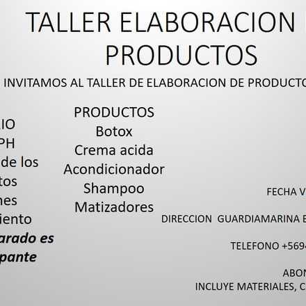 Taller Elaboracion Productos Peluquería