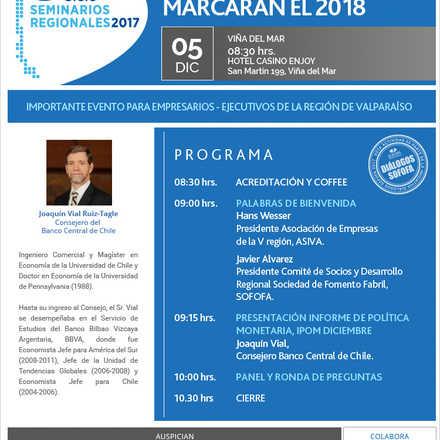ASIVA te invita al seminario: Las variables que marcarán el 2018 - IPOM diciembre