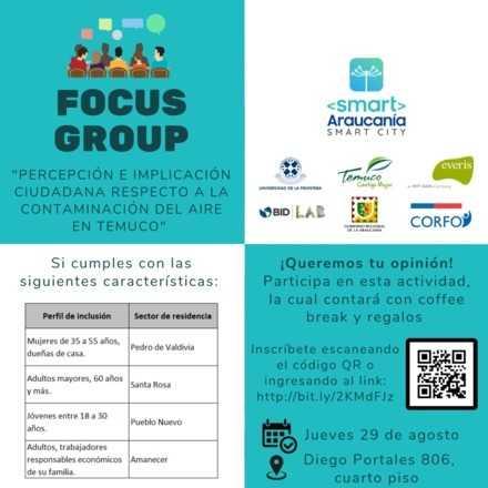 """Focus Group: """"Percepción e implicación ciudadana respecto a la contaminación del aire en Temuco"""""""