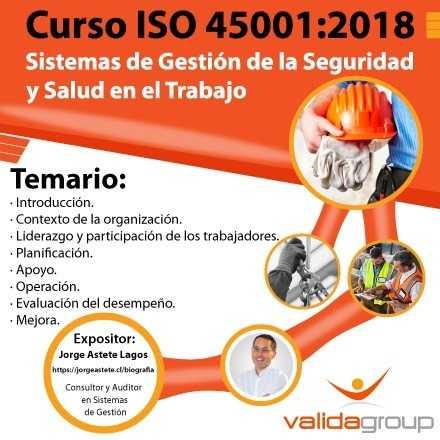 Curso ISO 45001:2018 / Sistemas de Gestión de Seguridad y Salud en el Trabajo (Puerto Montt)