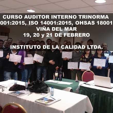 CURSO AUDITOR INTERNO TRINORMA ISO 9001, ISO 14001, OHSAS 18001- VIÑA DEL MAR