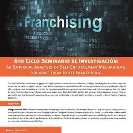 Seminario de Investigación Facultad Economía y Negocios. 6to Ciclo: An Empirical Analysis of Self-Enforcement Mechanisms:  Evidence from Hotel Franchising.
