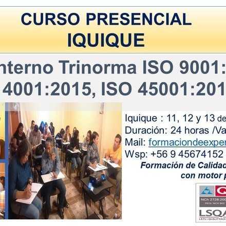 Curso Auditor Interno Trinorma ISO 9001, ISO 14001, ISO 45001 - IQUIQUE