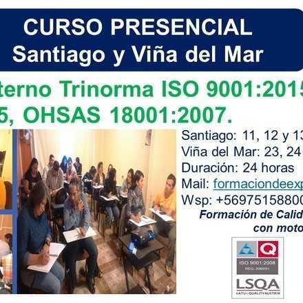 Curso Auditor Interno Trinorma ISO 9001:2005, ISO 14001:2005, OHSAS 18001:2007- SANTIAGO