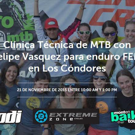 Clínica Técnica de MTB con Felipe Vasquez para enduro FEM en Los Cóndores