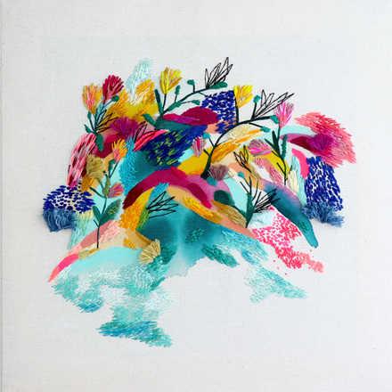 *Fusión Pintura abstracta y Bordadoo* por Katybiele